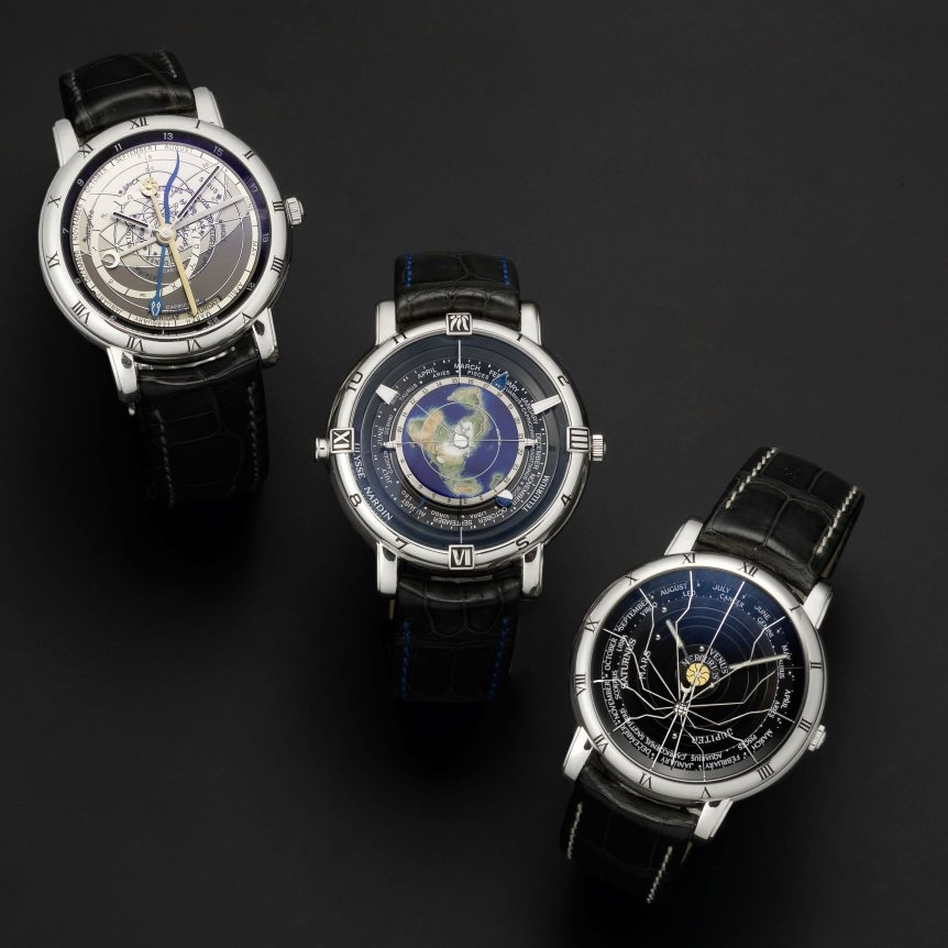 Lot 83: Ulysse Nardin. A set of three platinum trilogy limited edition automatic astronomical wristwatches Comprising: Astrolabium Gallileo Galilei, Tellurium Johannes Kepler and Planetarium Copernicus – sold for £72,100