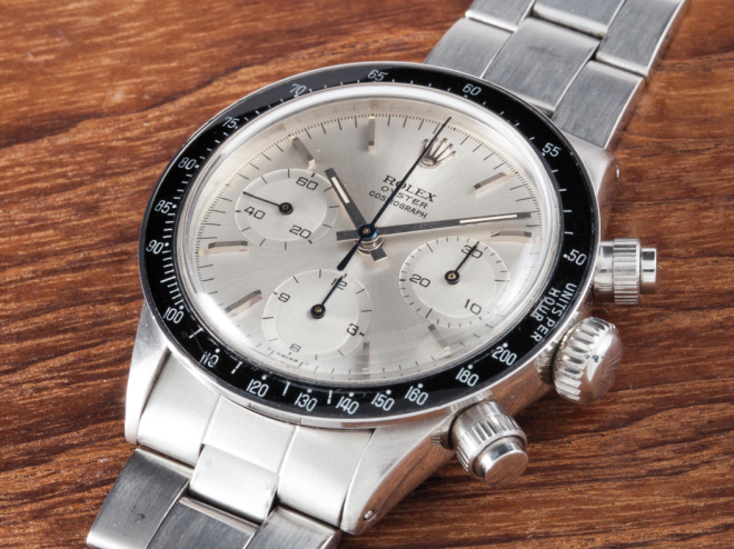 """Formerly in the Personal Collection of Sir Eric Clapton Rolex Cosmograph Daytona """"Albino"""" Stainless steel, ref. 6263, manufactured in 1971 Estimate Sfr. 500,000 to 1,000,000"""