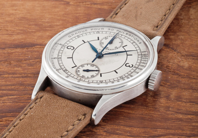 Patek & Philippe, Ref. 130 An extremely rare and important stainless steel single button chronograph with vertical registers, sector dial and pulsations scale, manufactured in 1927 and sold in 1937  Estimate: Sfr 1,000,000 - 2,000,000