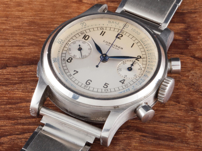 Lot 137 - LONGINES NO-MAG, 21391, Stainless steel, 1942, 35mm. Diameter Calibre: Manual, 13ZN Case, dial and movement signed - Estimate CHF15,000 - 25,000