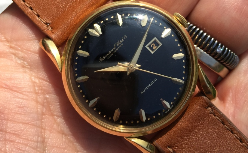 A very rare IWC cal. 8531 black dial, Bombay stylecase