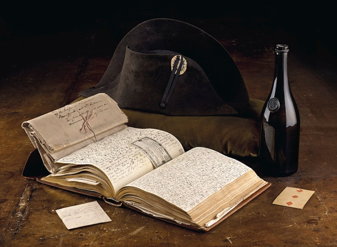 3-the-emperor-napoleons-hat-playing-card-and-map-wine-bottle-from-his-carriage-at-waterloo