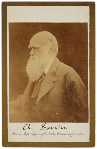 38, DARWIN, CHARLES. 1809-1882. Photograph Signed