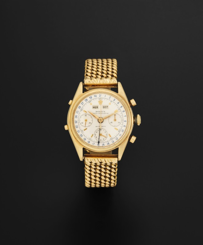 Lot 84 - Rolex. A fine and rare 18K gold manual wind 'Jean Claude Killy' triple calendar chronograph bracelet watch Antimagnetic