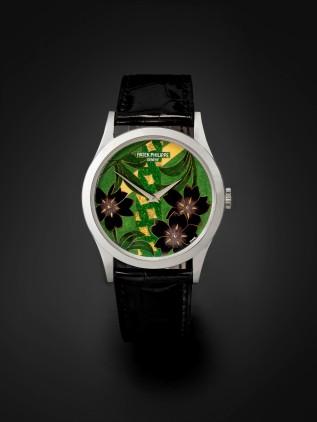 Lot 87 - .Patek Philippe. A very fine platinum automatic wristwatch with polychrome enamel dial Japanese Kimono