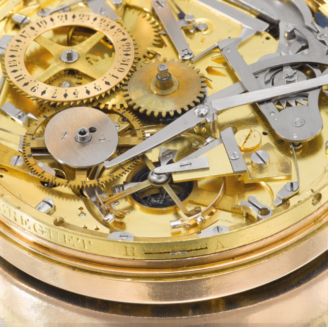 A detail of the movement under the dial on Breguet No. 217