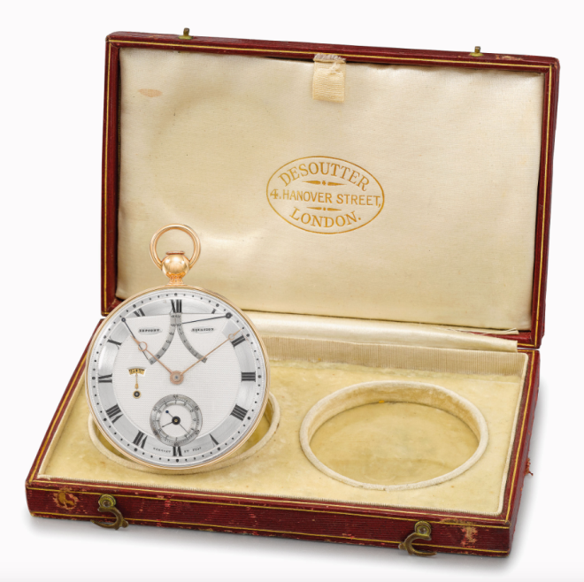Bregeut et fils, Paris, No.217 comes with Desoutter box numbered 217 containing a spare crystal, photocopy of Breguet Certificate No. 2385, photocopies of the 1965 catalogue entry and Daily Telegraph article