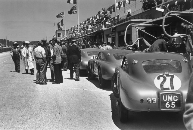 Le Mans, France. 25th - 26th June 1949. The Aston Martin DB2 cars in the pits, action. World Copyright: LAT Photographic. Ref: 49 - 17 - 16.